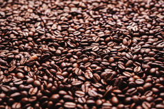 Roasted coffee beans. Background, top view. Roasted coffee beans in golden light Royalty Free Stock Photo