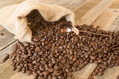Roasted coffee beans in a bag on wooden background royalty free stock image