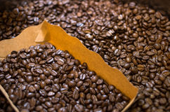 Roasted coffee beans in the blox, focus some part of all.  royalty free stock image