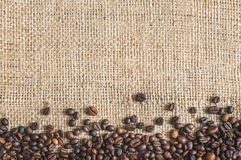 Roasted Coffee Beans Burlap Background Stock Images