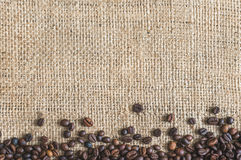 Roasted Coffee Beans Burlap Background Stock Photography