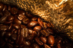Roasted coffee beans on burlap fabric. Royalty Free Stock Photo