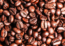 Roasted coffee beans, can be used as a background. Closeup, Stock Images