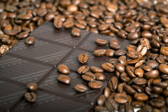 Roasted coffee beans with Chocolate, Royalty Free Stock Photo