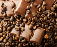 Roasted coffee beans and chocolate Stock Photography