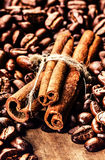 Roasted Coffee beans and cinnamon sticks on grunge wooden backgr Stock Photos