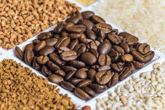 Roasted coffee beans close-up in set of groceries Royalty Free Stock Photography