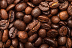 Roasted coffee beans close up. Top view. Royalty Free Stock Image
