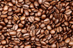 Roasted coffee beans. Closeup of roasted coffee beans Stock Photo