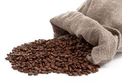 Roasted coffee beans with cloth sack isolated Stock Photo