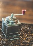 Roasted Coffee Beans And Coffee Grinder stock photo