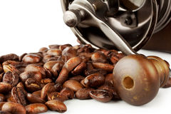 Roasted coffee beans with coffee grinder Stock Photos