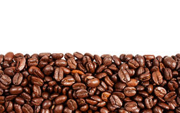 Roasted coffee beans with copy space on the top Royalty Free Stock Image