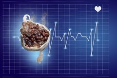Roasted coffee beans in a cotton bag, are isolated with a cardiology chart that shows report of heart beat rate due to caffeine. Healthcare concept royalty free stock image