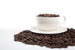Roasted coffee beans with a cup Royalty Free Stock Image