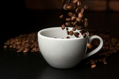 Roasted coffee beans falling into cup. Stock Image