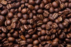 Roasted coffee beans. Grains of roasted coffee background royalty free stock photos