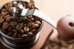 Roasted coffee beans in grinder Royalty Free Stock Photography