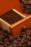 roasted coffee beans and ground coffee Stock Image