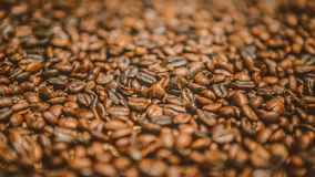 Roasted coffee beans. Hand roasted organic coffee beans stock image