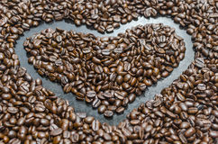 Roasted coffee beans. Heart of roasted coffee beans Stock Photo