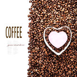 Roasted Coffee Beans with Heart Shaped Paper Sticker over coffee Royalty Free Stock Image