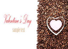 Roasted Coffee Beans with Heart Shaped Paper Sticker over coffee Stock Image