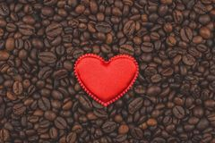 Roasted coffee beans. I love coffee. Background, close-up view. stock photo