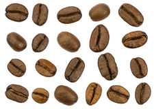 Roasted coffee beans isolated. Separate clipping paths Stock Images