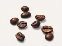 Roasted coffee beans isolated on white background. With copy space. Frame for creative concepts or advertising Royalty Free Stock Image
