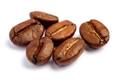 Roasted coffee beans isolated on white background. Cutout stock image