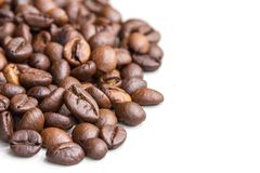 Roasted coffee beans isolated on a white background. stock photography