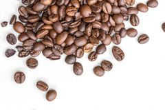 Roasted coffee beans isolated on a white background royalty free stock image