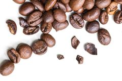 Roasted coffee beans isolated on a white background stock photography
