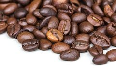 Roasted coffee beans isolated on a white background. stock image