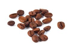 Roasted coffee beans isolated on white background. Three coffee stock images