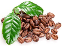 Roasted coffee beans and leaves. Royalty Free Stock Photo