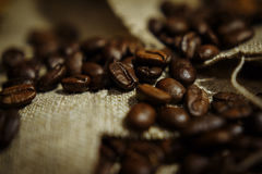 Roasted coffee beans. In a linen bag Royalty Free Stock Photography