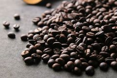 Roasted coffee beans. mixture of arabica and robusta on a black background royalty free stock image