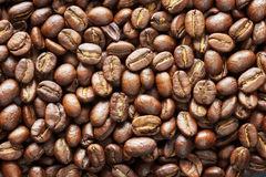 Roasted coffee beans, natural food background.  Royalty Free Stock Image