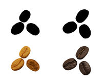 Roasted coffee beans and not roasted coffee bean, isolated. And black picture for die-cut Royalty Free Stock Image