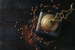 Roasted Coffee Beans Over Black Stock Photos