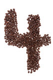 Roasted coffee beans placed in the shape of number four Stock Photo