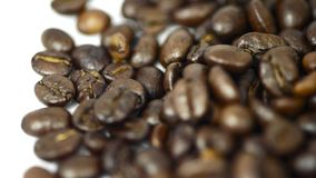 Roasted Coffee beans poured clip stock footage