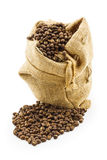 Roasted coffee beans in ramie sac Royalty Free Stock Images