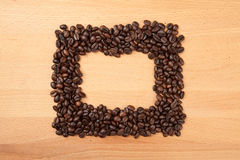 Roasted coffee beans in rectangular shape Stock Image