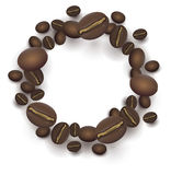 Roasted Coffee beans round frame royalty free illustration