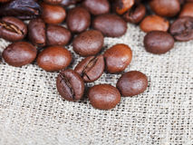 Roasted coffee beans on sackcloth Stock Images