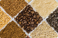 Roasted coffee beans in set of groceries. With buckwheat, rice, sunflower seeds, pearl barley, freeze-dried instant coffee, dried peas Stock Photos