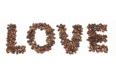 Roasted coffee beans in shape of alphabets, love Stock Photo